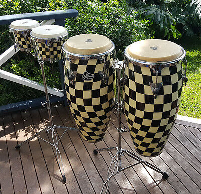 Aspire Accent Congas and Bongo Set with Double Stands and Protection Racket Bags