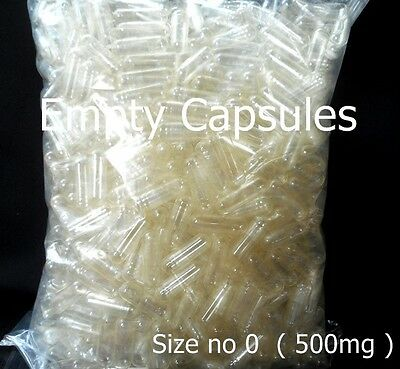 50-3000 EMPTY GELATIN CAPSULES CAPS CLEAR KOSHER SIZE NO 0 (500mg PURE REMEDIES