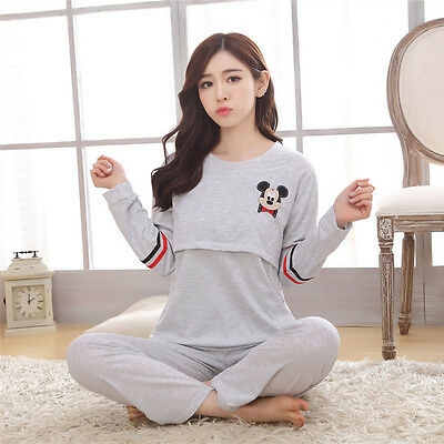 New Pregnant Women Nursing Pajamas Set Breastfeeding Maternity Sleepwear clothes