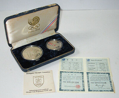 1988 SEOUL OLYMPIC 10000 & 5000 WON VOLLEYBALL Silver COIN SET