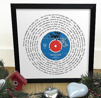 The Jam Town Called Malice | Vinyl Single 12 Inch LP Size Framed RETRO Print