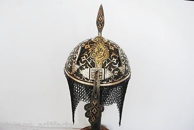 Indo Persian Mughal Islamic Rajput Silver Work Engraved Khula Khud Helmet Armour