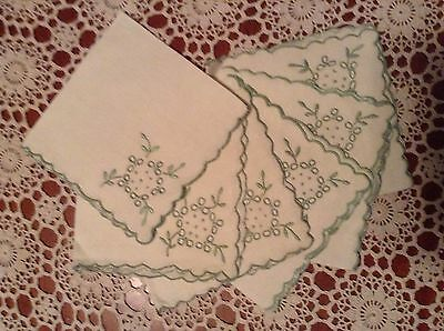Set Of 6 Fine Quality Linen Embroidered Napkins Serviettes Cream & Green