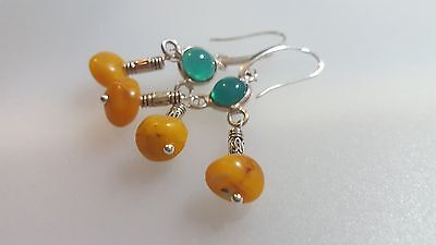 Baltic amber earrings 925 silver sterling.