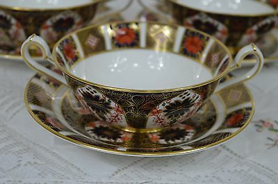 A  Royal-Crown-Derby-Imari-1128-Cream-Soup Cup and Saucer