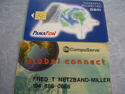 2 x used special cards as scan  Panafon and CSI Compuserve
