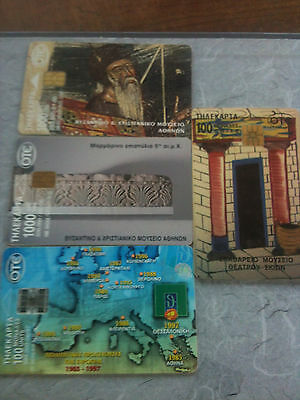 4 x Greece used cards  chip  LOT GR 03113