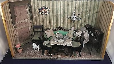 Antique doll house / living room / miniature German