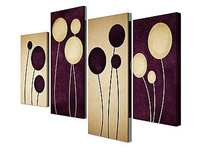 Large Purple Abstract Flower Canvas Art - Set of 4 Floral Prints - RRP £29.99