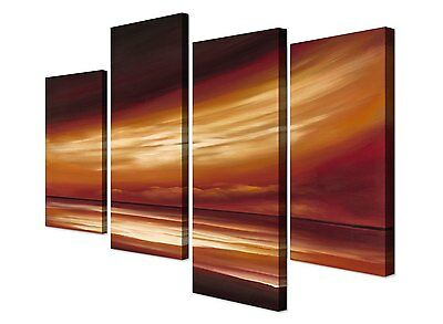 Large Brown Abstract Beach Sunset Canvas Pictures Wall Art - Set of 4 Prints