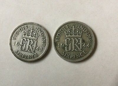 2 x George VI Silver Sixpence (6d) Coins. Old UK Currency Collectable 1943 1944