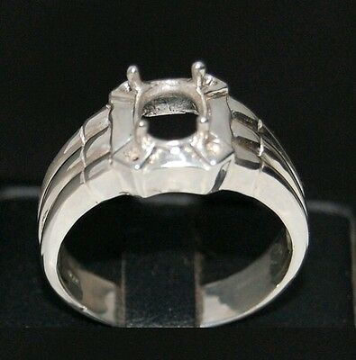 Semi mount mens silver ring 925 size 8 9 10 11 12 13 setting oval 8 x 6 mm