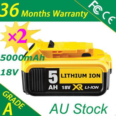 For Dewalt DCB184 18V New 5Ah Li-ion 18v XR Slide Replacement Battery x2