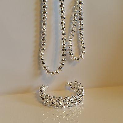 Sterling Silver 925 3 Piece Simple Beads Set