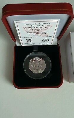 2009 Isle Of Man Silver Proof Five Gold Rings Christmas 50P Fifty Pence Coa