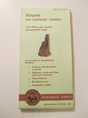 1985 WALPOLE NEW HAMPSHIRE VERMONT Topographic Map Geological Survey