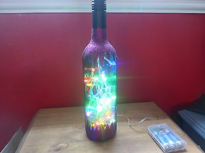 Glittered Wine Bottle Light (Purple Glitter, Multi-Coloured Lights) Xmas