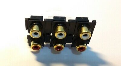 2X PCB Mounting 9 Pins Stereo 6 RCA Gold Plate Female Socket Connector