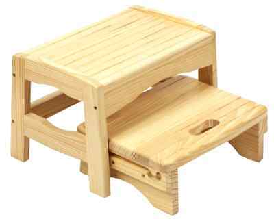 Wooden 2 Step Stool with Built In Handle and Slip Resistant Pads up to 22 kgs