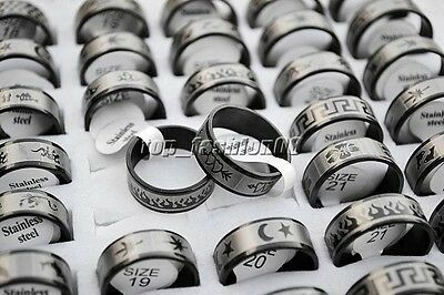 Wholesale lots 24pcs black 1.2mm thick mixed Stainless steel rings 17-22mm #R268