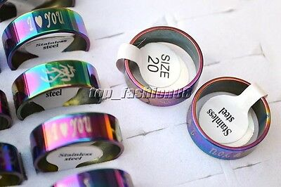 Wholesale lots 24pcs colorful 1.2mm thick Stainless steel rings 17-22mm #R2692