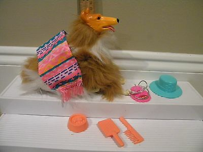 1989 Barbie Western Fun- pet Dog Collie Turquoise #7454