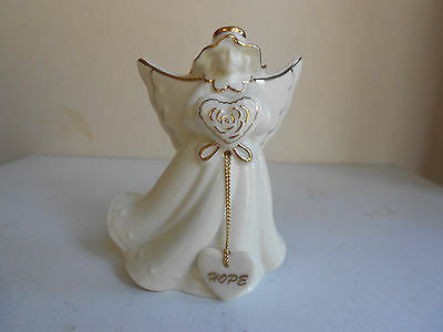 """Porcelain """"Hope"""" Angel Bell With Gold Trim And Accents 4"""""""