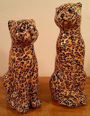 New Pair of Animal Print Leopard Cheetah Figurine Statues