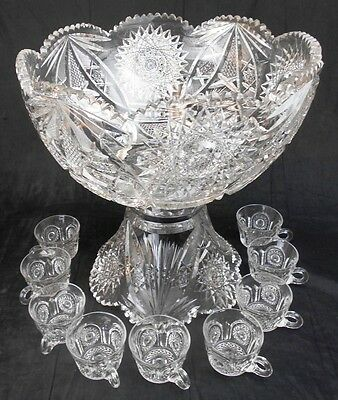 Huge American Brilliant Period (ABP) Hobstar Cut Glass Bowl & 9 Matching Cups