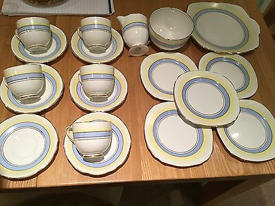 Royal Stafford Vintage Part Tea Set @ 1930's Deco Look Blue White & Yellow Bands
