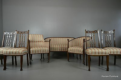 7 Piece Edwardian Salon Suite Sofa Armchairs & Dining Chairs