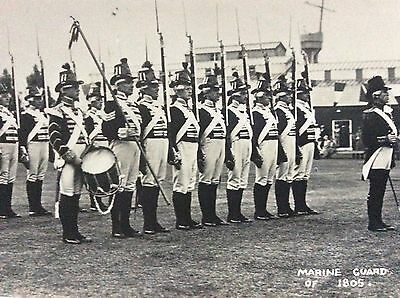 Vintage Rppc View Of Marine Guard Reenactment From 1808 Chatham Docks 1930's