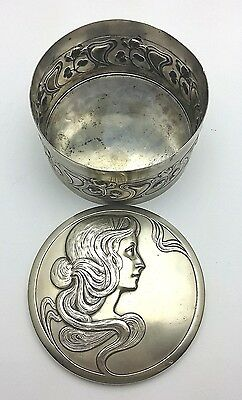 WMF ANTIQUE Trinket Box  Secessionist, Art Nouveau Lady design. German