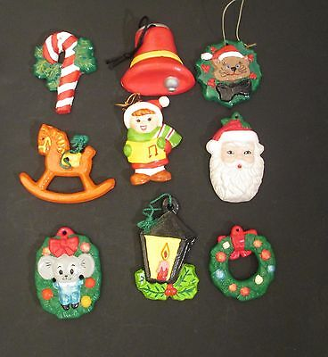 Vintage Hand Painted Plaster/Ceramic Christmas Ornaments Figurines Lot of 9