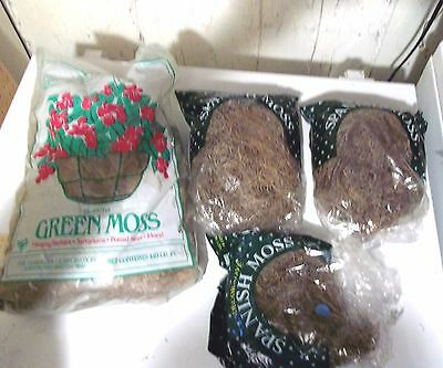 Hiawatha Green Moss NIP, 3 Part Bags Spanish Moss For Plant & Craft Decor Accent