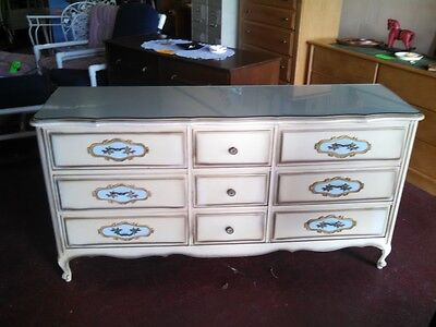 Antique Vintage French Provincial Dresser + Matching Chest of Drawers