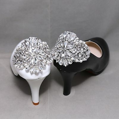 Rhinestone Crystal Wedding Bridal Diamante Crystal Sparkle Pearl Shoe Clips