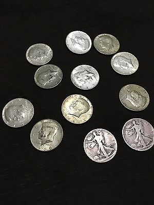 Lot Of Kennedy Halves And Walking Liberty Halves