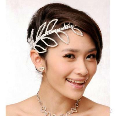 2PCS Bridal Bridesmaid Wedding Crystal LEAF Crown Headband Tiara Headpiece