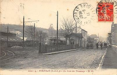 Cpa 37 Vouvray La Gare Des Tramways