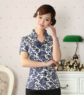 Free Shipping Chinese Tradition Women's 100% Cotton Coil Clasp Shirt Blouse Tops