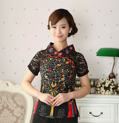 Women New Arrival Blouses Chinese Tradition Cotton Linen Lace Shirt Blouse Tops