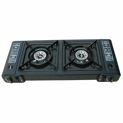 New Portable Dual Burner Twin Gas Stove Camping Cooker Fishing Bbq Stove Outdoor