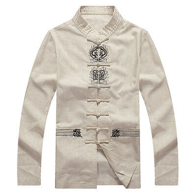 Brand New Arrival Chinese Men Cotton Linen Embroider Kung Fu Jacket Coat M-4XL