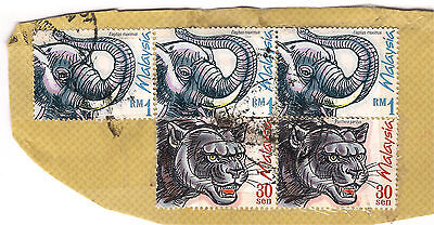 5 x Malaysia elephant / cat stamps used