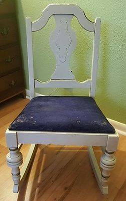 1910-1930's ROCKING CHAIR Victorian Small Gold Gild White Wood Blue Velvet Seat