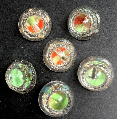 Red Green Colour Changing Vintage Glass 1.3cm Buttons - 6 of them
