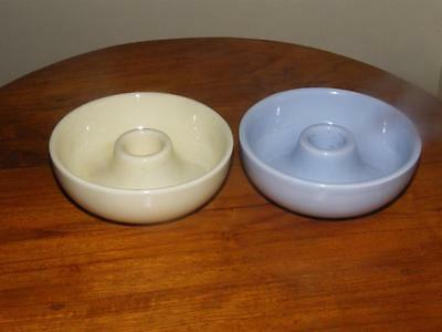 Pair of Vintage Poole Pottery Contour Candle Holders in Lemon & Blue Colourways