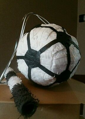 Football Pinata filled with Sweets Birthday Party & Stick black white