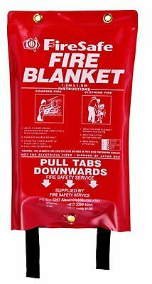 HOME & OFFICE SAFETY QUICK RELEASE LARGE FIRE BLANKET IN CASE 1M x 1M + F & FREE